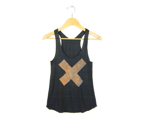 X Marks the Spot  Racerback Hand Stenciled by twostringjane, $26.00