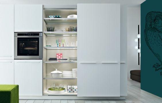 hochfunktionales küchendesign poliform arbeitsplatte regale spüle - design kuchen twelve hochfunktional