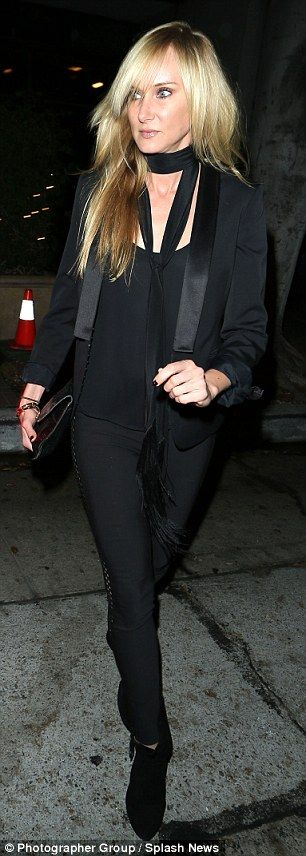 Tough day: Kimberly Stewart looked a bit down as she was spotted out in Los Angeles on Monday following the news that her reality series Stewarts and Hamiltons had been cancelled