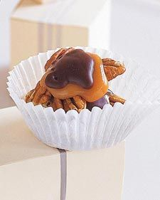 Chocolate-Covered Turtles:  Since the chocolate coating of these candies is not tempered, the nut clusters are covered in melted chocolate and then placed in the freezer