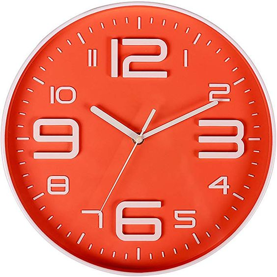 Filly Wink Modern Wall Clock Non Ticking Sweep Movement 3d Number Easy To Read Indoor Kitchen Office 10 Inch Orange Review Wall Clock Wall Clock Modern Clock