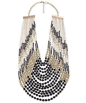 null (Multi Col) Beaded Pearl Art Deco Draped Bib Necklae | 267671399 | New Look