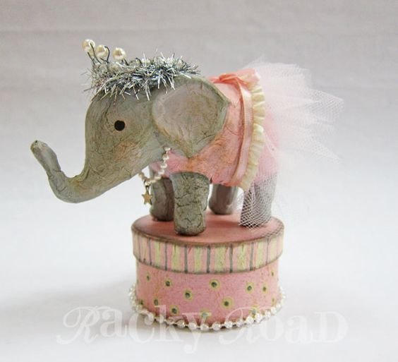 Elephant ballerina-I think this was done with mache but it would be adorable done as a needle felt project
