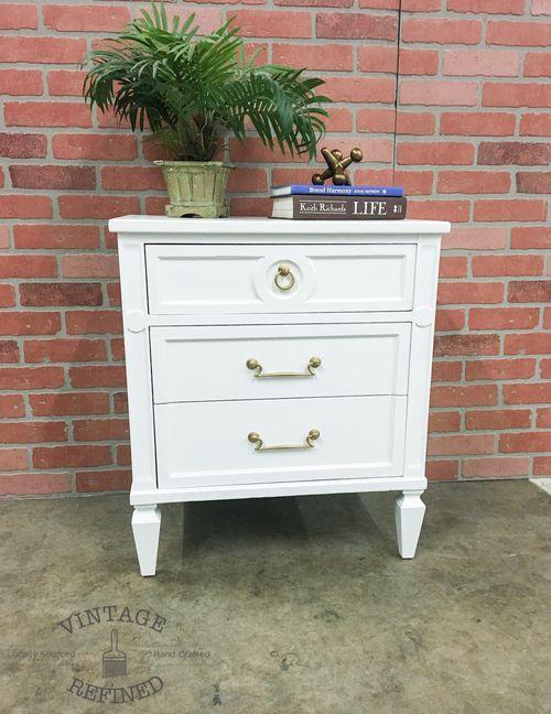 white nightstand with gold hardware vintage refined furniture pinterest hardware photo. Black Bedroom Furniture Sets. Home Design Ideas