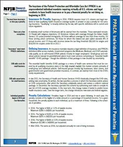 The keystone of the Patient Protection and Affordable Care Act (PPACA) is an unprecedented individual mandate requiring virtually all U.S. citizens and legal residents to have health insurance or to pay a financial penalty for not doing so, beginning in 2014.    Learn the essential facts about this mandate in this NFIB Research CribSheet.