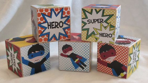 Boys Super Hero Comic Strip Wood Blocks Retro by TheBlockSpot