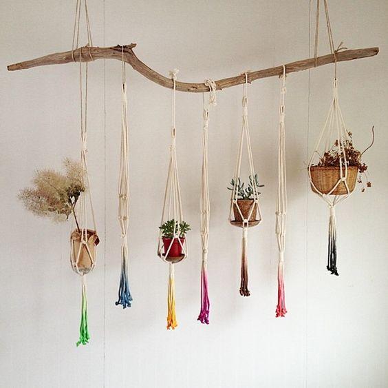 Rainbow macrame plant hangers: