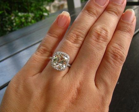 crazy beautiful 4 carat cushion cut diamond ring on hand. Black Bedroom Furniture Sets. Home Design Ideas