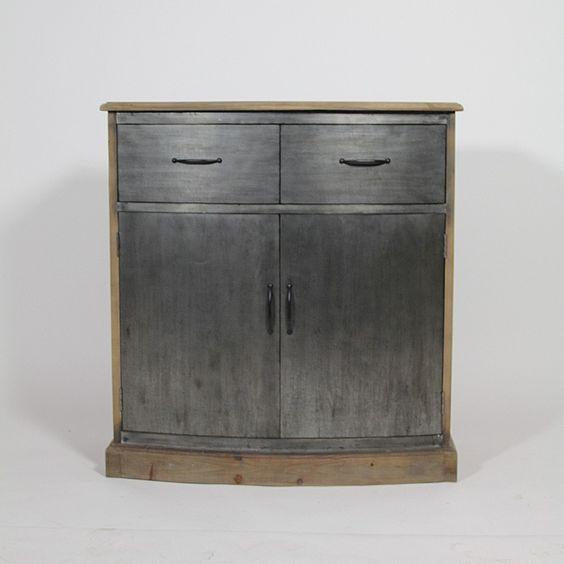 petit buffet galb 2 portes 2 tiroirs en pin recycl naturel et facade m tal. Black Bedroom Furniture Sets. Home Design Ideas
