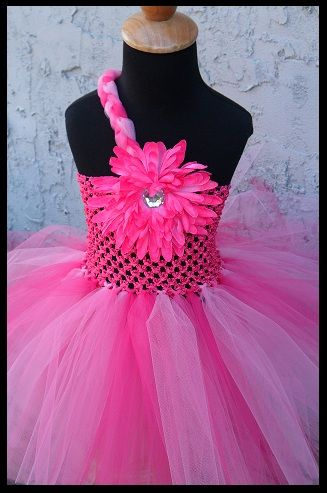 Hot pink tutu dress with braided strap @ www.facebook.com/gurliglam