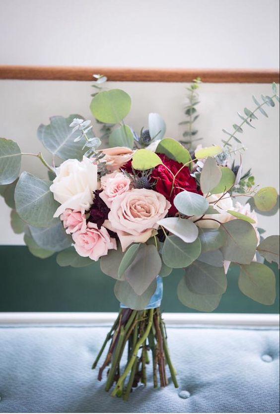 Anita's Flowers and Boutique white ohara garden roses, pink majolika spray roses, heart roses, silver dollar eucalyptus
