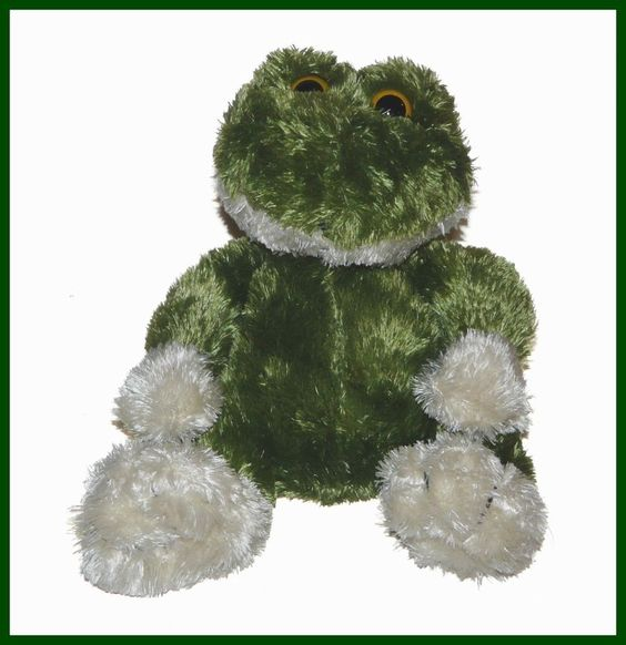 "Animal Adventure Green Cream Big Feet Frog Plush 8"" Lovey Stuffed Animal #AnimalAdventure"