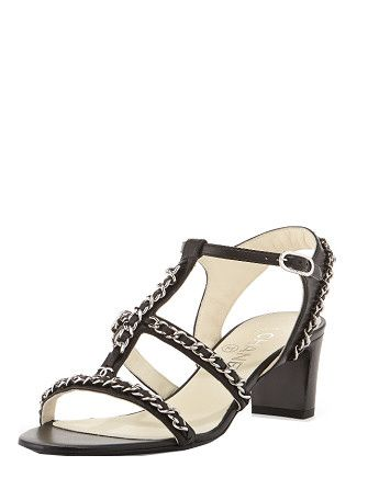CHANEL Chain Parade Leather Heel Sandal
