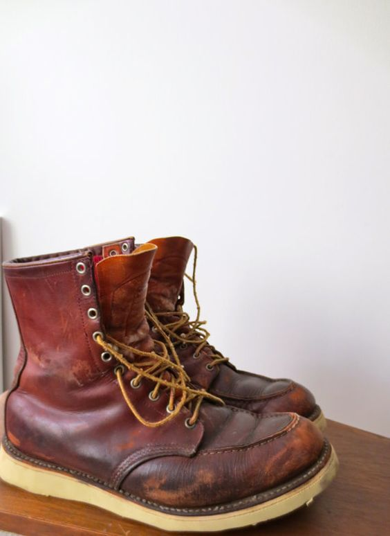 Vintage Mens Brown Red Wing High Style Lace Up Boots Size 12 ...