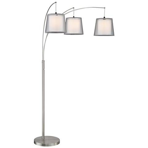 Norlan Brushed Nickel 3 Light Arc Floor Lamp W Double Shade Floor Lamp Lamp Modern Floor Lamps