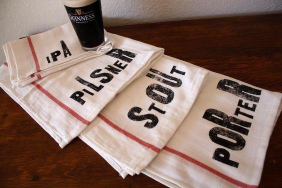 Beer Lovers Towel Set Set of 4 Tea Towels by NestaHome on Etsy, via Etsy.