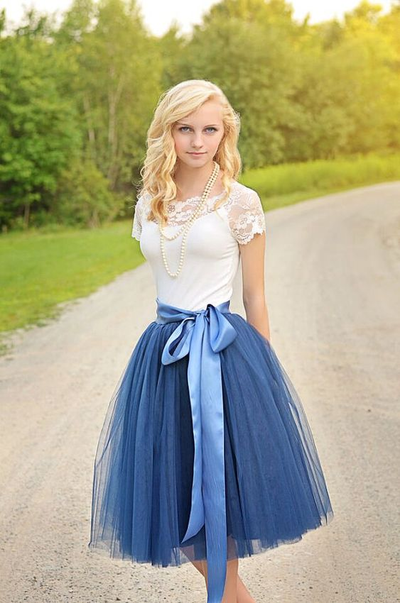 Womens Tutu Navy Blue Tulle skirt Navy Blue by MaidenLaneBoutique