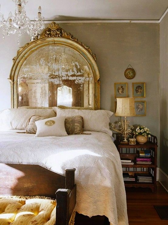 Mirror Headboard And Gold Bedroom Decor