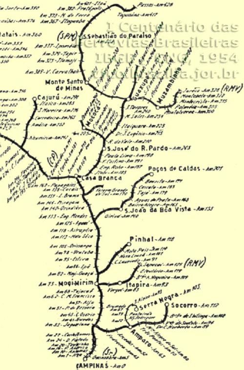 Mapa Cia Mogiana - 1954