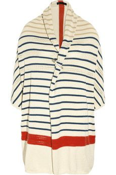 striped knitted cotton cardigan
