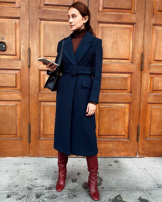 Приталенное пальто из шерсти