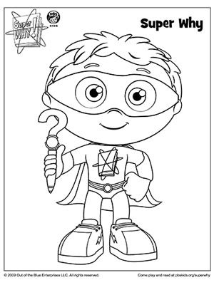 SUPER WHY Coloring Book Pages: Super Why Holding His Why Writer (via Parents.com)