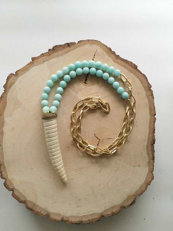 Long Beaded Aquamarine and Ox Bone Horn by KatherineRoseDesign