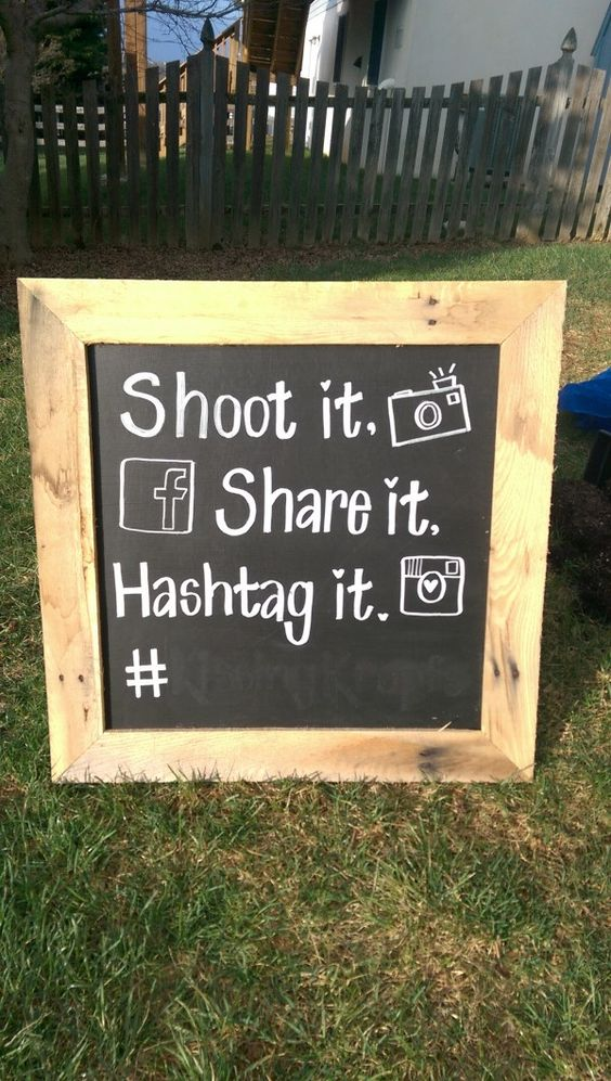 I have a hand made wedding photo booth sign. I used this next to the photo props for our self made photo booth. Works great to put your own wedding hashtag at the bottom. The black is chalkboard paint with white paint chalk (doesn't wipe off easily). Frame is old palette wood. Rustic look W- …