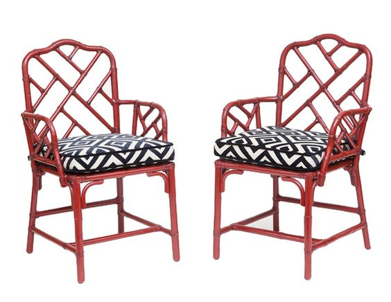 Pair of red 50's Bamboo Chinoiserie Chairs with custom cut velvet cushions - Dering Hall