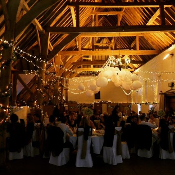 Lovely lighting from #oakwoodevents makes our #tithebarn #uftoncourt look magical for #weddings