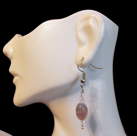 Lilac Oval Cats Eye and Bi-Cone Earrings by Culbertscreations on Etsy