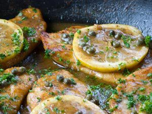 This dish offers the wonderful fresh flavors of tart lemon and salty capers combined in a rich sauce of white wine and chicken broth.