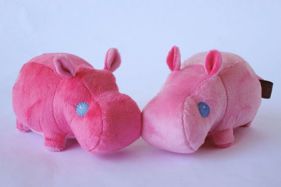 Valentine Kissy Hippos Cute Pink Plushie Pair by Pwyllo on Etsy