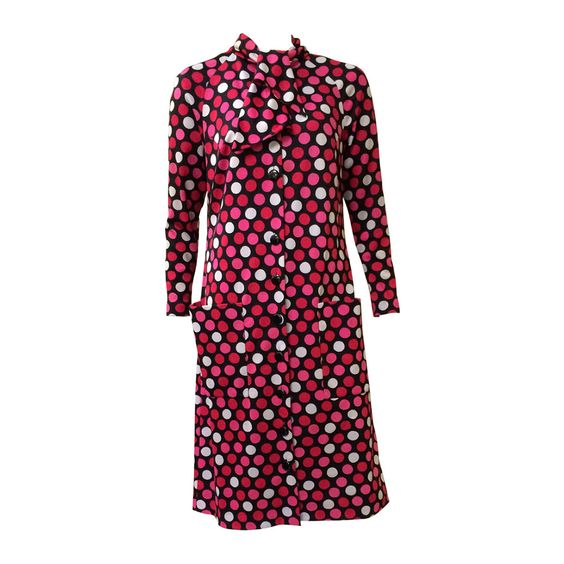 Pauline Trigere 80s polka dot dress.   From a collection of rare vintage evening dresses at https://www.1stdibs.com/fashion/clothing/evening-dresses/