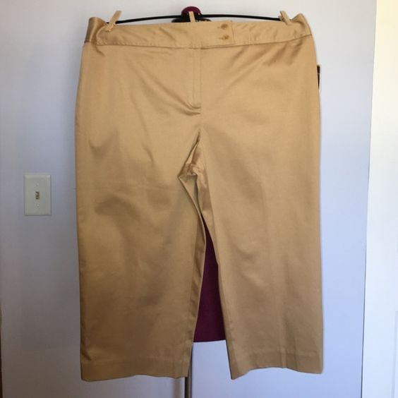 """Nine West Camel Stretch Bermuda Shorts size 14 Up for grabs is this pair of shorts from Nine West. They are a size 14 and have a 19.5"""" inseam with a 38"""" waist and 45"""" hips. These shorts are a bermuda style with a longer leg in a camel colored khaki. They have a tab closure front with a double button and zipper. These shorts are new with the original tags. Nine West Shorts Bermudas"""