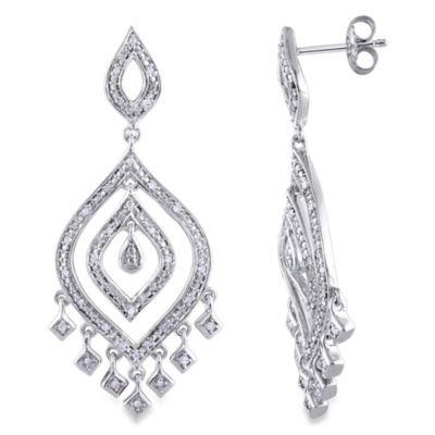 Sterling Silver 1/4 cttw Diamond Drop Dangle Pin Earrings - BedBathandBeyond.com