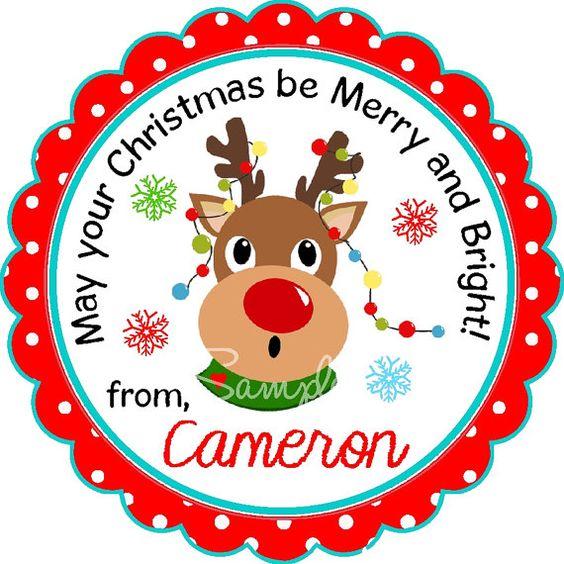Reindeer Stickers Personalized Reindeer by thepaperkingdom on Etsy