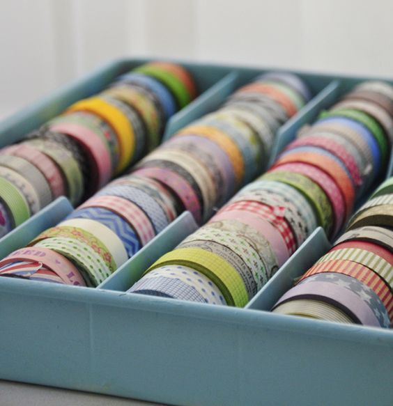 washi tape holder tray {check Dollar Tree, Target, Ross, etc. for inexpensive cutlery tray / SBO}
