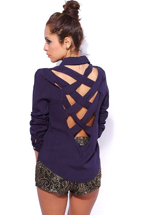CUT OUT CROSS BACK BUTTON UP.. Only $12 http://klassykodeboutique.bigcartel.com/