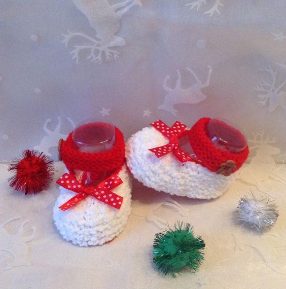 Chaussons ballerines de Noël pour bébé, 0/3 mois, blanc et rouge : Mode Bébé par tricot-bonnie