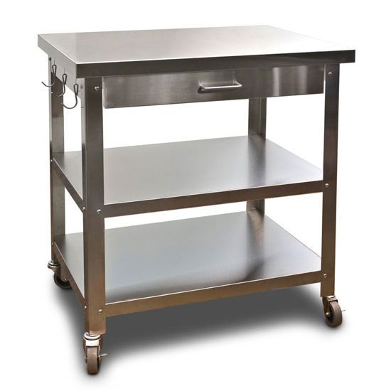 Cocina Kitchen Cart With Stainless Steel Top
