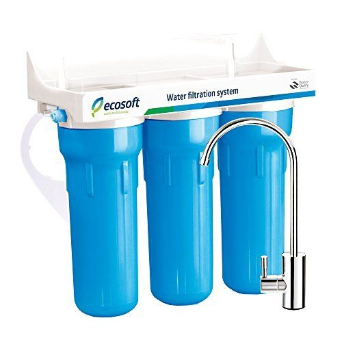 Ecosoft 3 Stage Under Sink Water Filtration System For Clean And