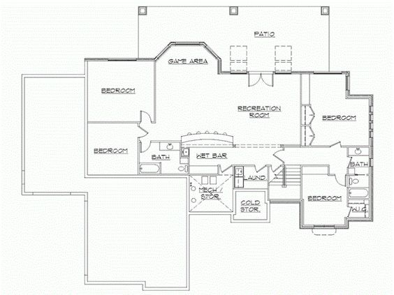 Rambler house plans with finished basement by eplans for Eplans floor plans