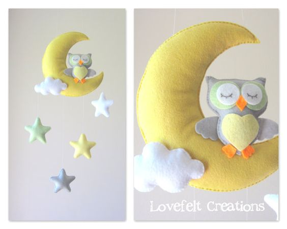 Baby mobile - Owl mobile - Crib Mobile Owl - Baby Mobile Stars