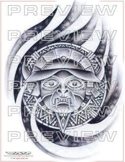 amazing aztec god tattoo design