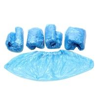 100 Pcs Disposable Blue Plastic Shoe Covers Carpet Cleaning Overshoe