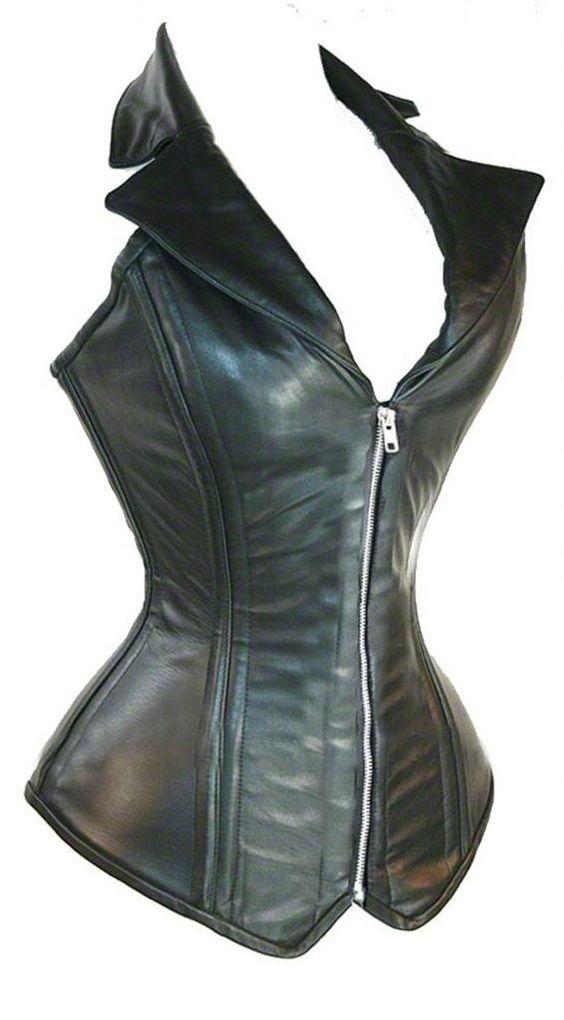 Jusian Women's Push Up PU Leather Boned Corset Bustier Medium Black