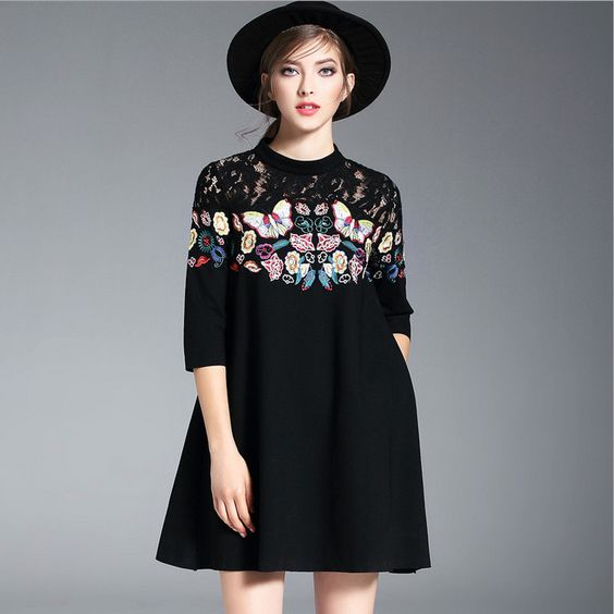 Butterfly Embroidered One Piece Dress