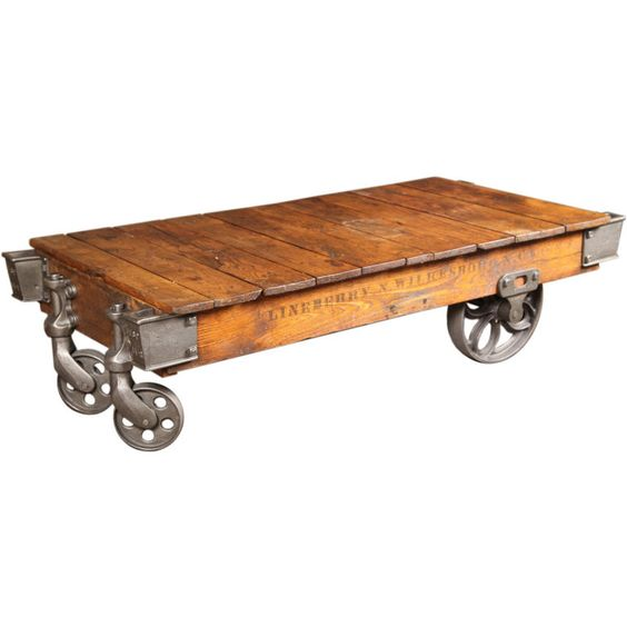 Old Industrial Cart Coffee Table: Vintage Industrial Wood Cast Iron Steel Rolling Factory