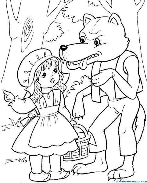 Caperucita Roja Web Del Maestro Caperucita Roja Dibujo Paginas Para Colorear Disney Caperucita Roja